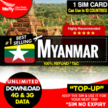 Myanmar Sim card ( Telenor/MPT Network): 7 days unlimited 4G data.More plans available