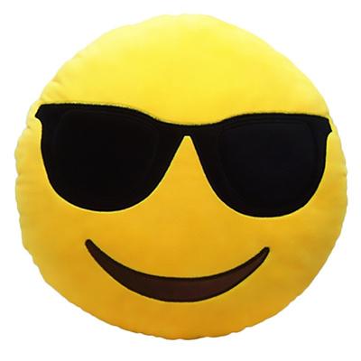 Cute Cartoon Creative QQ Expression Emoji Emoticon Yellow Round Face Cushion Pillow Throw Pillow Stuffed Plush Soft Toy - Cool