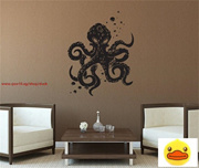 Octopus Mania Living Room Vinyl Carving Wall Decal Sticker For Home Decoration