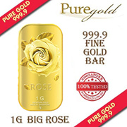 1g Big Rose Gold Bar / 999.9 Pure Gold / Singapore Made Gold Bar / Premium Gifts / Collections