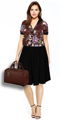 bigsize brown floral dress