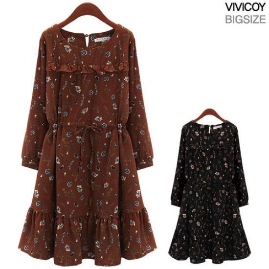 ビビ己斐モリーワンピースRO プリントのワンピース/ 韓国ファッション