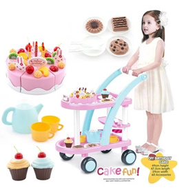 Flat Price - Children Kids Tea Cake Trolley Cart with Musical Birthday Party Cake 60Pcs