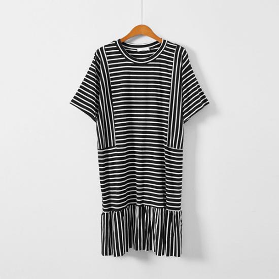 イニク小金・ストライプOPSワンピース 綿ワンピース/ 韓国ファッション