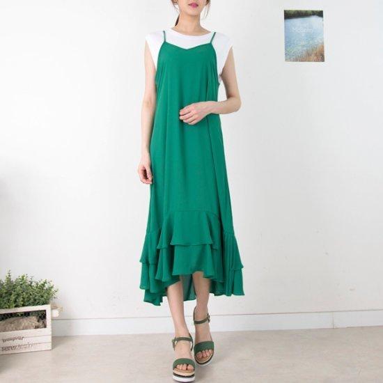 クッキーセブンP4757 3段ペプラムシフォンビュスチェロングワンピース プリントのワンピース/ 韓国ファッション
