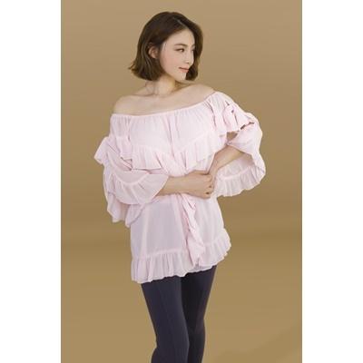 35. frill trim sheer blouse - pink - free