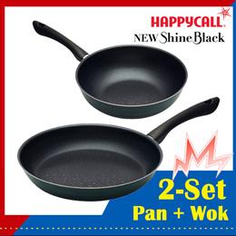 [Happycall 2-Set] 2021 New Shine Black Frying pan wok / non stick cooking pans