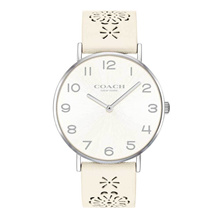 COACH PERRY ANALOG QUARTZ SILVER STAINLESS STEEL 14503029 WHITE LEATHER STRAP WOMEN S WATCH