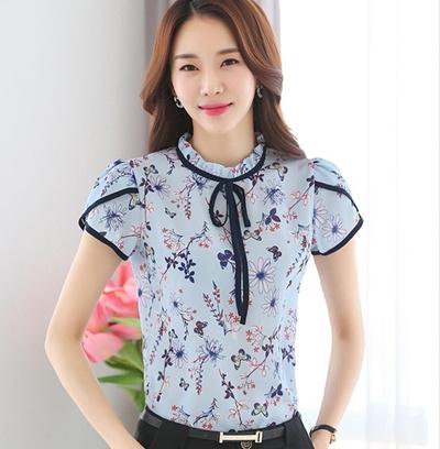 2427c16157 Summer Floral Print Chiffon Blouse Ruffled Collar Bow Neck Shirt Petal  Short Sleeve Chiffon Tops Plu