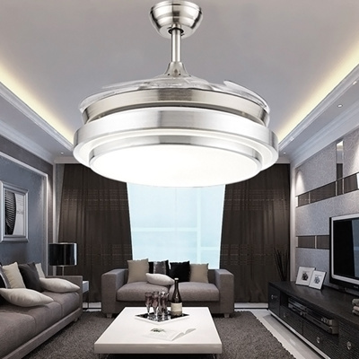 Qoo10 Led Crystal Invisible Ceiling Fan Light Modern Living Room
