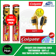【COLGATE】360 Charcoal Gold Toothbrush - Soft 1 + 1 Bundle (Free Triple Action Toothpaste 200g)