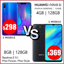 Huawei Nova 3i 4GB RAM / 128GB ROM | Realme 2 pro 8GB RAM / 128GB ROM | Both 2 Year Warranty