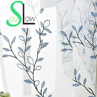 Slow Soul Blue White Curtain Cotton Pastoral Embroidered Leaves Curtains  Tulle Cortinas For Living R
