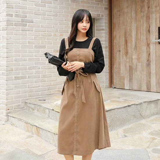 ジジベたれやあいキュニクンワンピース55100可能ベルトワンピースロングワンピースレイヤードワンピース 綿ワンピース/ 韓国ファッション