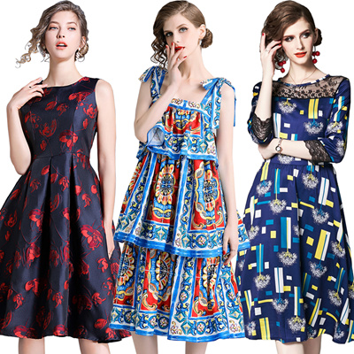 4d2ee154d2 European and American fashion banquet dress professional long dress party  dress Lady print