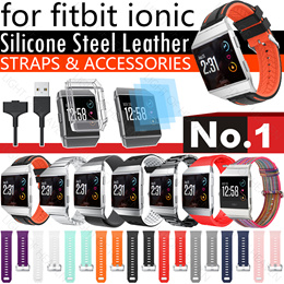 Fitbit ionic strap Smartwatch Band Silicone Leather Strap Band Smart Bracelet Stainless Steel