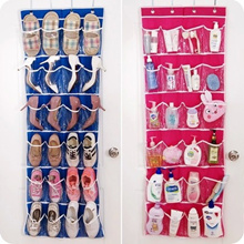 24 Pocket Door Hanging Holder Shoe Organiser Storage Rack Wall Bag Organize Room (Color:Hot Pink & B