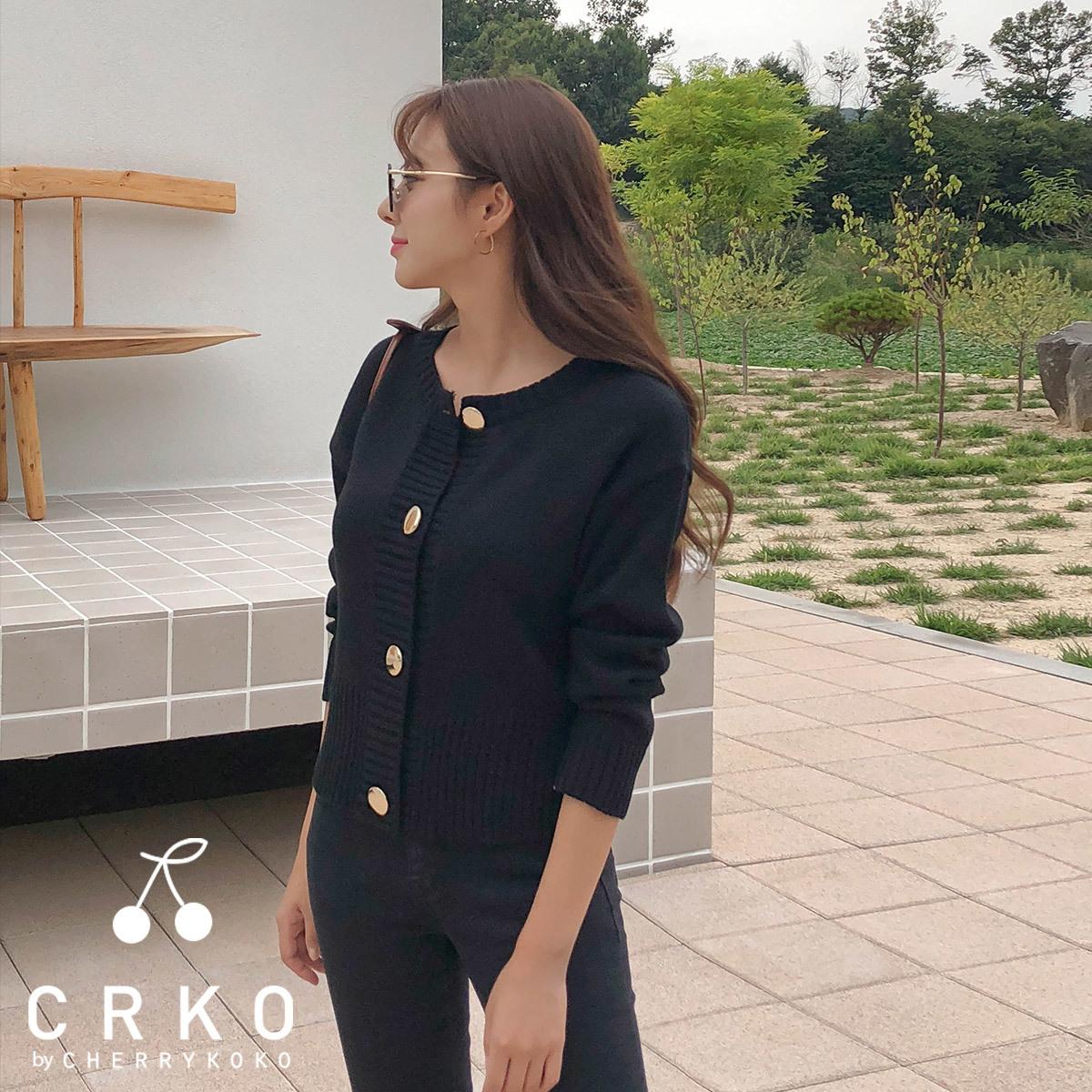 [CHERRYKOKO官方旗艦店]時尚大金屬扣針織外套上衣