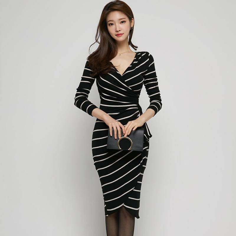 2017早秋  韓国ファッション  レディース  ワンピース 流行 体型 カバー   長袖 可愛い  上質  SKZ158