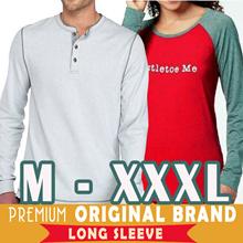 Branded Bigsize Kaos Lengan Panjang Henley Pria Raglan Wanita  Premium 3979334244