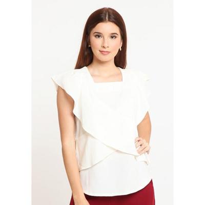 17d1b9cf7d Qoo10 - CLASSIC TRUFFLE BLOUSE WHITE : Women's Clothing