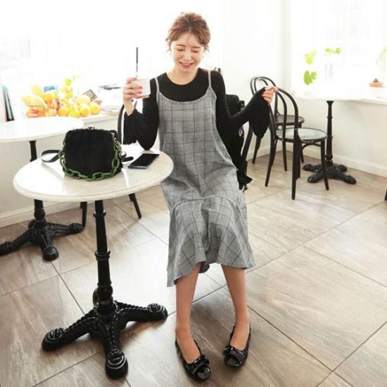 イルチルサ、グレンチェックナシワンピース 綿ワンピース/ 韓国ファッション