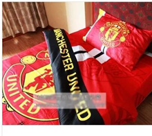 Manchester United bed sheet soccer team logo equipped three-piece bedding linens pillowcases