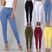 Fashion Clothing Polyester Women Denim Trousers Skinny Pants High-Waist Slim Leggings
