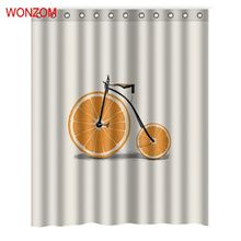 WONZOM Orange Watermelon Rose Milk Shower Curtains with 12 Hooks For Bathroom Decor Modern 3D Polyes