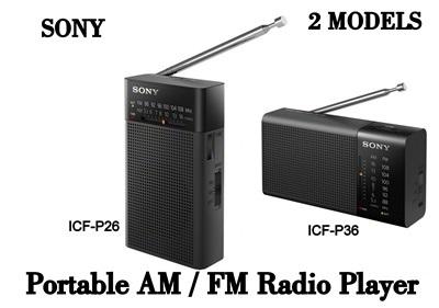 New Genuine Sony ICF-P26 Portable Pocket FM//AM Radio Built-in Speaker Black