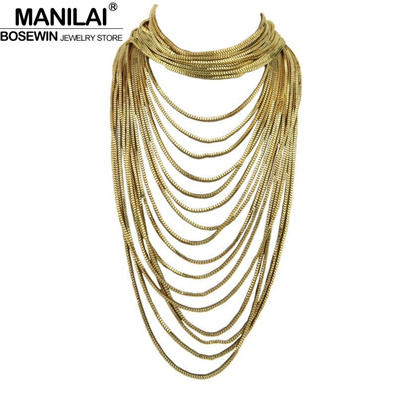 07ee91feda29 MANILAI Boho Style Multi Layers Chain Choker Statement Necklace Women Long  Chain Maxi Collar Vintage