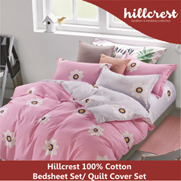 *Hillcrest 100% Cotton Bedsheet Set 900TC Printed with Pillow Bolster Case Quilt Cover