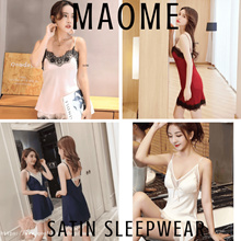 [Maome] NEW AUG/18 Korea Sexy Satin Lace Sleepwear Lingerie Slip Dress Nightie Silk Plus Size