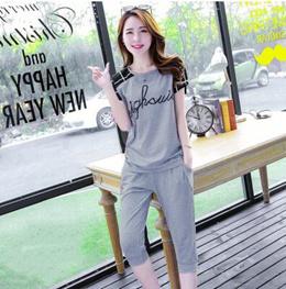 Women New Cotton Sport Casual Suit Korean Summer Loose Sportswear Women s Top and 3/4 Pants