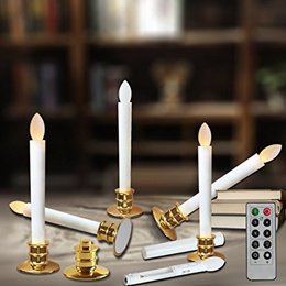 Window Candles with Timer Battery Operated - Electric Candle Flickering Remote Timer AAA - Flamel...