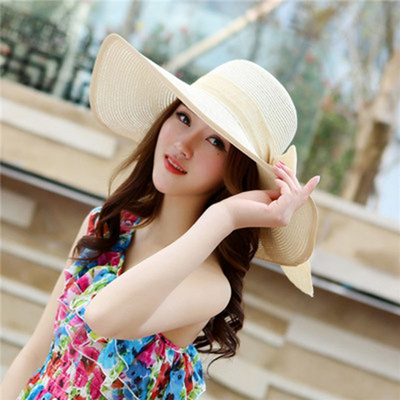 13936673 shop 2018 New Summer large brim beach sun hat for women UV protection  Female cap with