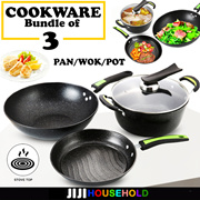 Cookware, Dining & Bar 4pc Non Stick Casserole Stockpot Square Cookware Pot Set Die Cast Marble Pan Top Watermelons