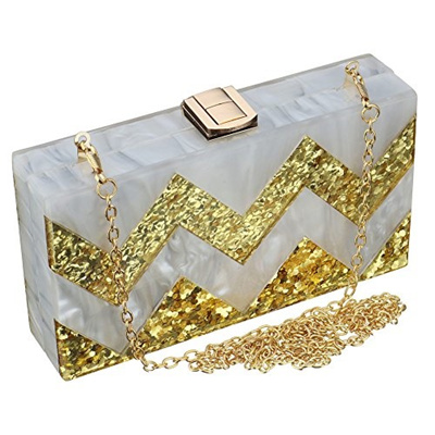 90853a742e (SSMY) Women Acrylic Silver and Gold Box Clutch Purse Striped Evening  Crossbody Bags-