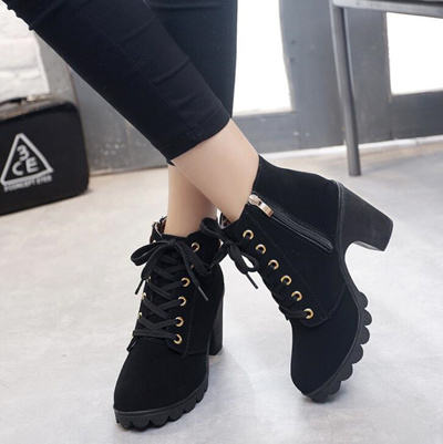 Martin boots high heels shoes women leather shoe girl boot
