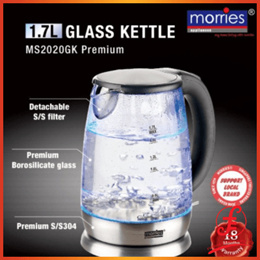 MORRIES MS-2020GK 1.7L ELECTRIC GLASS KETTLE (18 MONTH local morries WARRANTY)