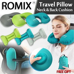 ROMIX ®U Shape Neck Pillow Foldable Simple Portable Press Inflatable Travel Pillow For Airplane