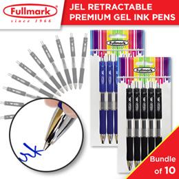 10 x Fullmark JEL Retractable Premium Gel Ink Roller Ball Pens - Fine Point Black/Blue