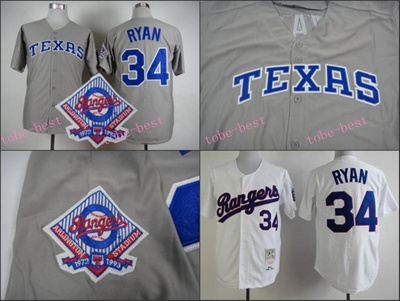 best authentic bc628 4d175 Texas Rangers Jersey #34 Nolan Ryan Jersey White Grey Stitched Authentic  Retor Throwback Baseball Je