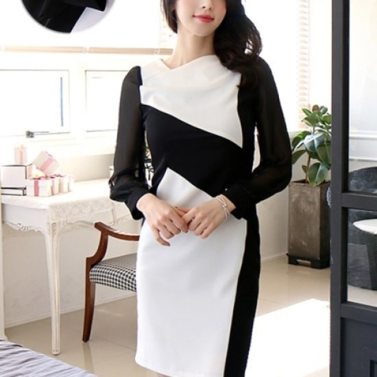 [送料無料]三女子モール三女子モールスェイプ配色ブランドワンピースTW71OP071/シフォン/レースのワンピース/ 韓国ファッション