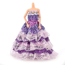 1 X Doll Handmade Clothes Cake Lace Dress with Sequins For Barbie Doll Purple