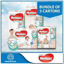 Bundle of 3 Cartons!! [HUGGIES] Platinum Diapers Tape / Pants - available in all sizes