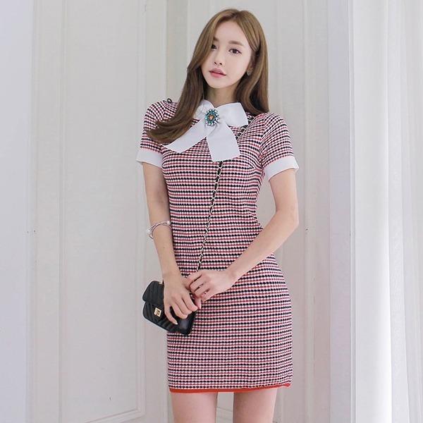 継続思い出すワンピースリボンブローチセットnew ニットワンピース/ワンピース/韓国ファッション