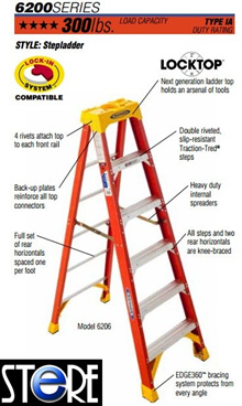 Werner Fibreglass Ladder 6200 series (9 to 12 Steps Only) - 6209AS / 6210AS / 6212AS