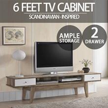 SO Cevo 6ft / 1.8m TV Cabinet / TV Rack / Tv Stand (Light Oak)