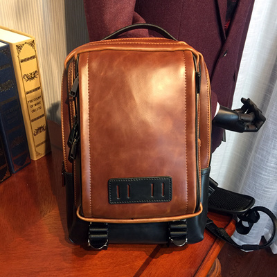 72aa6b6eaf ETONWEAG Brands Cow Leather Belt Bag Men Chest Bags Brown Vintage Zipper  Sling Bag Preppy Style